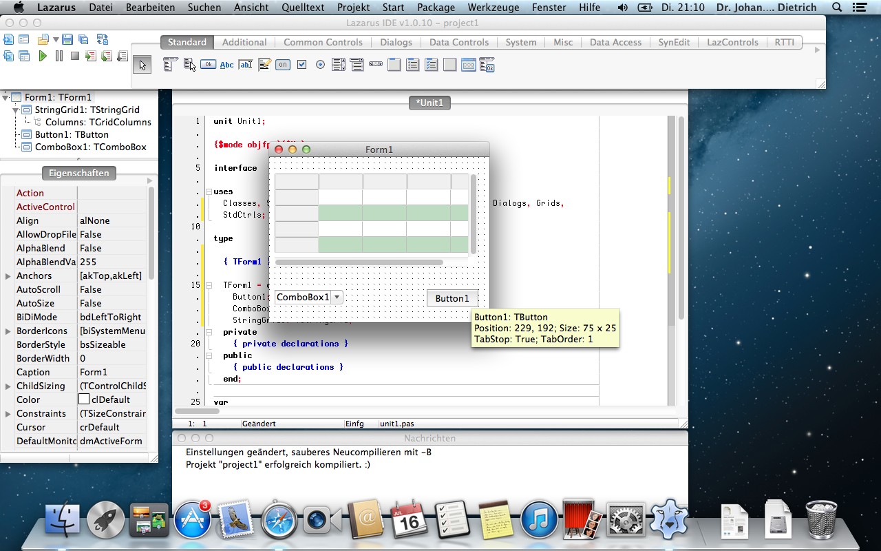 Lazarus for Mac OS X screenshot