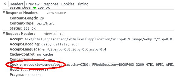 Cookie request header in Chrome's developer tools