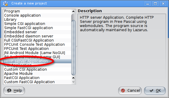 Create new HTTP server application