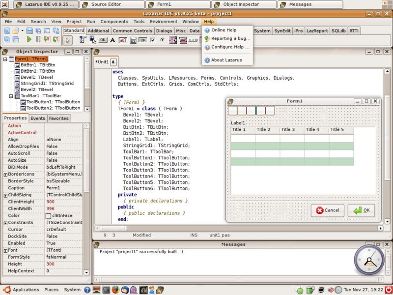 Image:Lazarus IDE GTK2.png